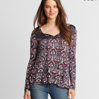 Cape Juby Printed Tassel Peasant Top
