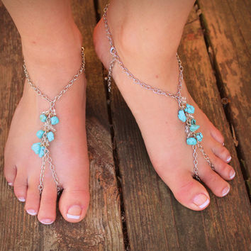 Silver Chain Bareoot Sandals // Turquoise // Wedding Shoes // Beach // Summer // Barefoot Hippie // Gypsy // Hoop shoes // Beach // Boho