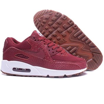 NIKE AIR MAX 90 Trending Snake Skin Texture Wine red Women Sneakers B-A-QDSK-Buy Micro