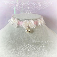 Kitten Pet Play Cat Collar Choker Necklace Pink Lace White Bow Bell kitty pastel goth Lolita Neko BDSM DDLG