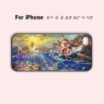 Disney Ariel Little Mermaid Ariel Cute Phone Case iPhone 4 4s 5 5s 5c 6 Plus +-5 Colors Available
