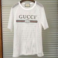 GUCCI 2018 spring and summer new fishnet hollow letter printed short-sleeved T-shirt F-AGG-CZDL white