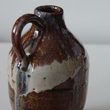 "Personal size Moonshine Jug, pottery, Brown, ""150 Proof"" ceramic stoneware wheel thrown hand made"
