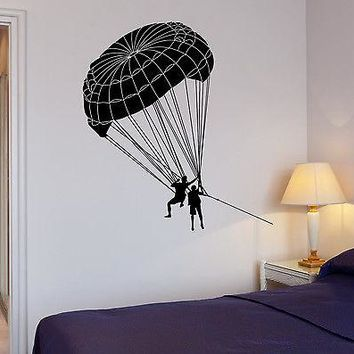Wall Vinyl Sticker Extreme Sports Parachute Jumping Room House Decor Unique Gift (ig2031)