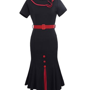 Streetstyle  Casual Doll Collar Contrast Trim Awesome Bodycon Dress
