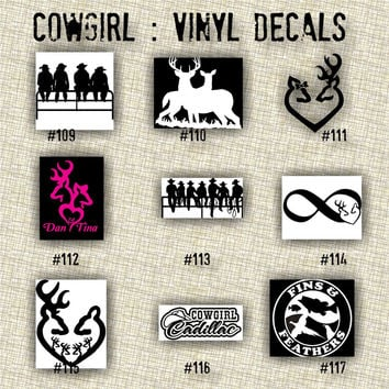 COWGIRL vinyl decals | country western | country girl | car decals | car stickers | laptop sticker - 109-117