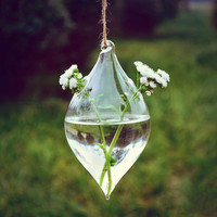 Water-drop Glass Hanging Planter Container Home Wedding Decoration