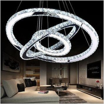 Modern 3 Rings Crystal Pendant Light Circle Ceiling Lamp LED Chandelier Lighting