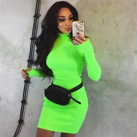 ZHYMIHRET 2018 Autumn Winter Long Sleeve Neon Color Dress Long Sleeve Skinny Mini Sexy Dress Party Ribbed Female Vestidos