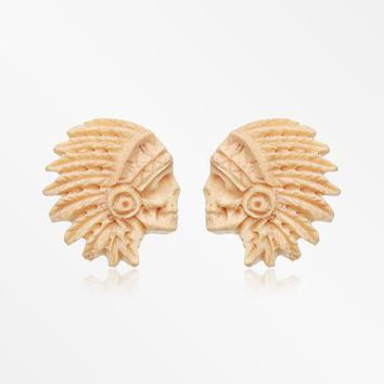 A Pair of Crazy Horse Handcarved Wood Earring Stud