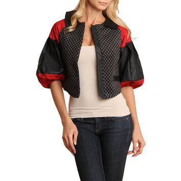 Nuvula Womens Faux Leather Textured Jacket