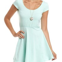 Cap Sleeve Cotton Skater Dress: Charlotte Russe