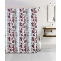 Shower Curtain- 13 Piece Waffle Texture Set With Rollerball Hooks- Sydney Red