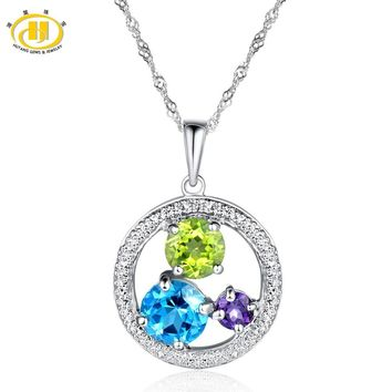 Hutang Gems & Jewelry Natural Gemstone Blue Topaz, Amethyst, Peridot Pendant 925 Sterling Silver Necklace Women Fine Jewelry