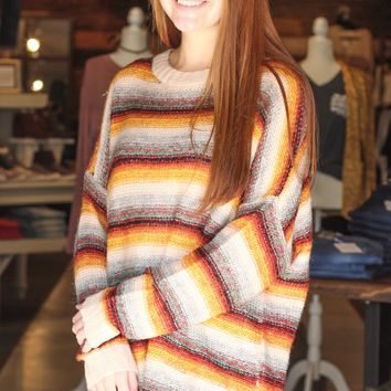 {Mustard Mix} Colorful Stripes Knit Sweater