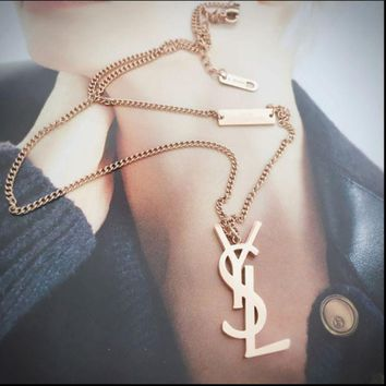 LMOFN1 YSL Women Fashion Chain Plated Necklace Jewelry