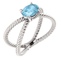 14K White Aquamarine Rope Ring