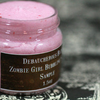 Zombie Girl Sample Bubbling Scrub Blood red cherries, blood oranges, deathly white pumpkin and crimson pomegranates.