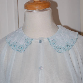 50s Robe, Pale Blue, Peignoir, Chiffon, Lingerie, Lace, Applique, Bridal, Trousseau, NOS, Size M
