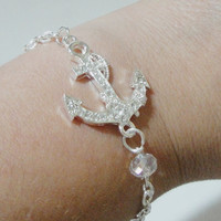 Silver Anchor Charm Bracelet Clear Crystal Sideways Connector Bracelet, Nautical Jewelry