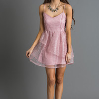 Maribeth Sequin Mauve Tiered Dress