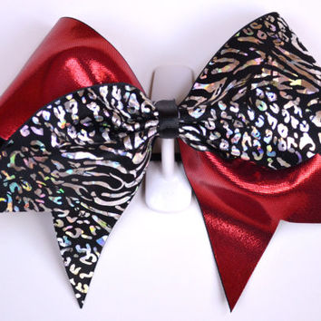 3 Wide Luxury Cheer Bow     Red / Black by BowsWithAttitude