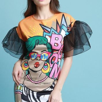 Boom Pop Art Print Mesh Sleeve Dress