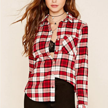 Red Plaid Pattern Long Sleeve Buttoned Blouse