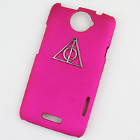 Deathly Hallows Harry Potter And plum purple Hard Case Cover With For HTC One X, HTC S720e,HTC
