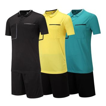 2018 new style Soccer Judge uniform professional soccer referee clothing Football referee Jersey black yellow green