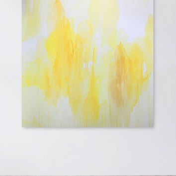 Yellow and White Painting, Abstract, 36 x 36