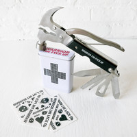 Handy Hammer Warrior Set - First Aid Tin Hammer Multi Tool Temporary Tattoos Set