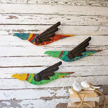 Set of 3 Painted Wooden Bird Wall Hangings With Metal Wings