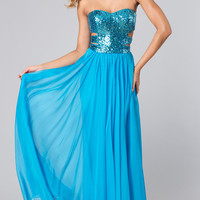 Long Strapless Sweetheart Dress with Cut Outs