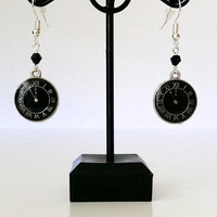 Black watch with a black stone earrings