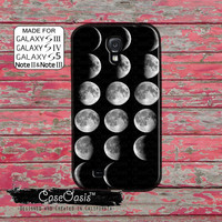 Moon Phase Chart Crescent to Full Cool Space Galaxy Stars Custom Galaxy S5 and S4 and S3 Case and Galaxy Note 2 and Note 3 Case