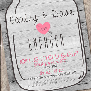 Trendy Mason Jar Engagement Party Invitation, Country Engagement Invitation, Mason Jar Engagement Party Invite, Rustic Country Invitation