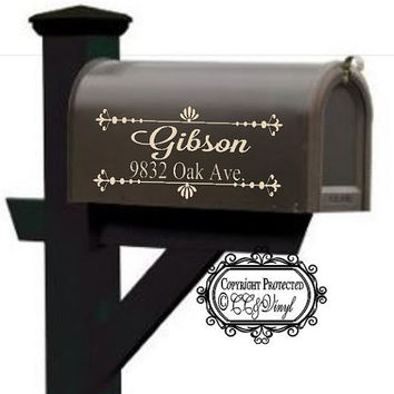 Personalized Mailbox Vinyl Flourish Decal