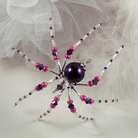 Christmas Ornament Spider - Purple Pearl and Pink Crystal Christmas spider Ornament