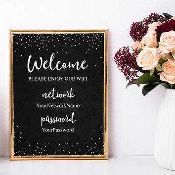 Wifi password chalkboard sign printable Wifi chalkboard sign, Welcome guest room sign printable, Custom wifi sign, Chalkboard printable sign