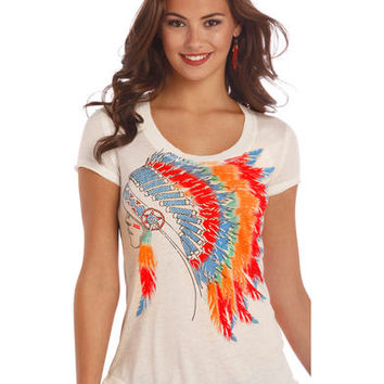 Rock & Roll Cowgirl Women's Natural Colorful Headdress Graphic Tee
