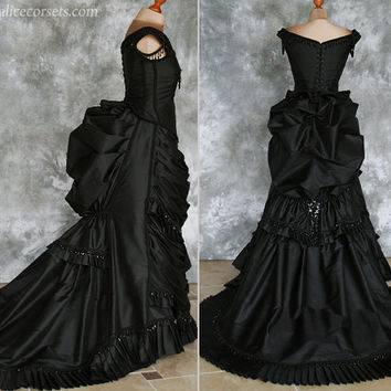 Silk Taffeta Gothic Victorian Bustle Gown ~ Vampire Ball Masquerade Halloween Black Wedding Dress ~ Steampunk 19th century Period Costume