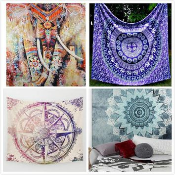 130cmx150cm New Elephant Tapestry Colored Printed Decorative Mandala Tapestry Indian Boho Wall Carpet