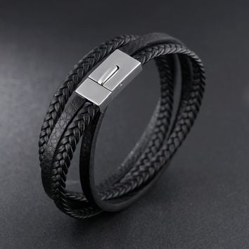 woven Leather bracelet Trendy personality snap men's bracelet, handmade braided bracele for men 21cm