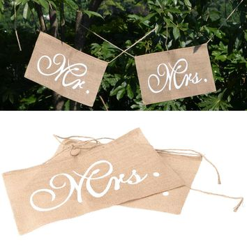 24x 36cm Christmas Mr and Mrs Rectangular Burlap Chair Banner Set Chair Sign Garland Rustic Wedding Party Decoration Banners
