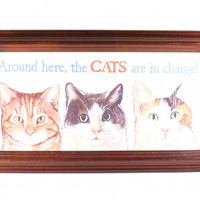 Cats Rule Vintage Wall Hanging Framed Picture Hipster Kitsch Decor / 90s