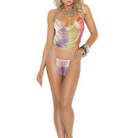 Fringe cami top and g-string Multi-Color One Size