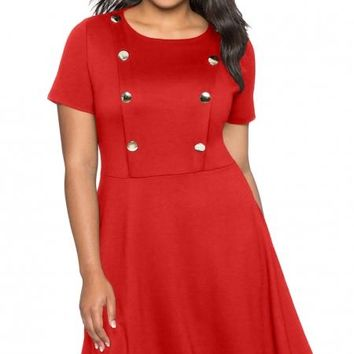 Button Front Fit and Flare Plus Size Red Dress
