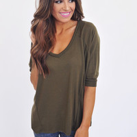 Knit V Neck Dolman- Olive