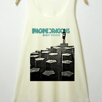 Imagine dragons, tank top , women tank top, off white shirt, screenprint, tunic, clothing tshirt, lady shirt, rock tee, S/M , L/XL size